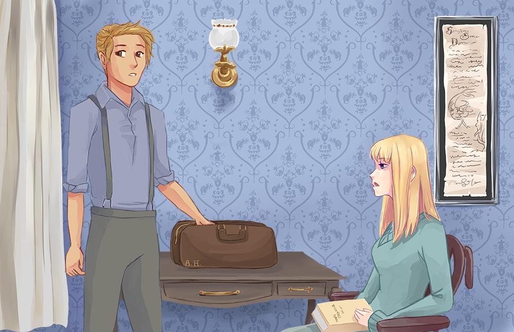 Preston sighs, wheeling Eloise into her room