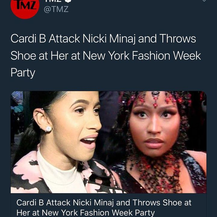"""😣 Now I'm all for """"unity"""" especially in the female rap community HOWEVER, what we not going to do is have an _ woman throwing shoes, attempting to start a fight with a person over some """"he say-she say"""" bullshit! #nyfw at that!"""