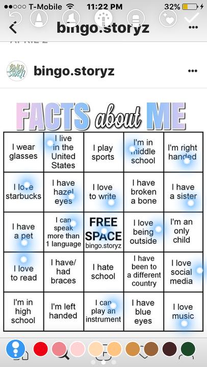Bingo Storyz Facts About Me Wattpad
