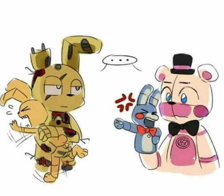*Plushtrap plays with BonBon's ear and the New BonBon bites him and get into a big fight thankfully Springtrap and Funtime Freddy were there to stop it*