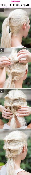 Sólo tienes que dividir tu cabello esta vez en tres secciones y hacer tus respectivas coletas