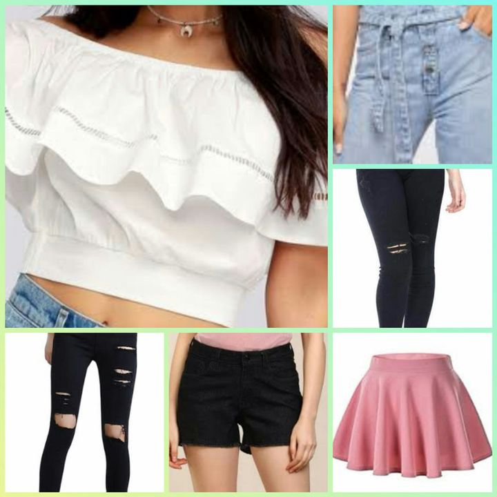 All girls👭 together at their own room open the box and sees a beautiful white offshoulder top 👕with different pair of lowers👖