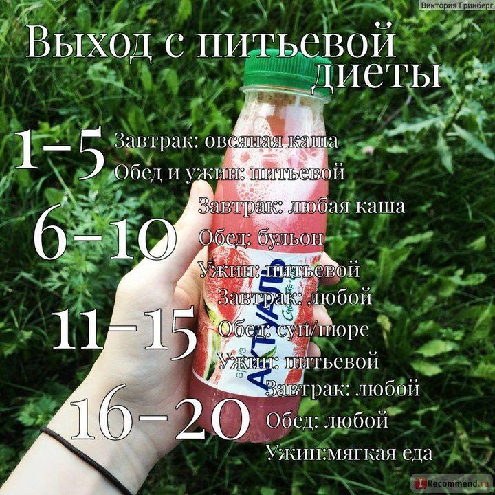 питьевая диета список разрешенных продуктов