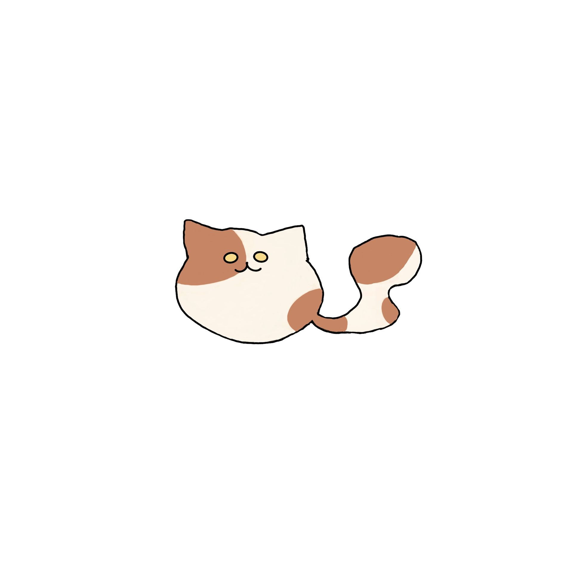 Then a cute cat I drew just because! For those cat lovers out there you can get a bunch of these cute cats as stickers, on a pillow, and a lot more!