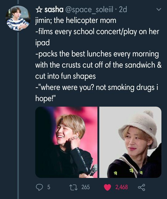 Park Jimin as The helicopter mom