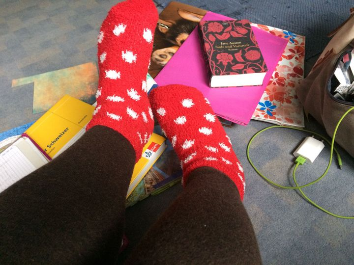 Natürlich waren meine gepunkteten flauschigen Christmassocken auch mit am Start: