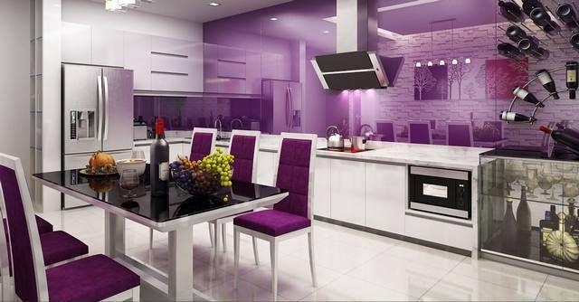 phòng bếp với tông màu chủ đạo là tím, thiết kế thoe không gian mở và hiện đại
