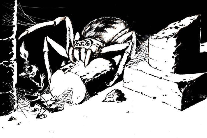 Bloqué dans le réduit, il ne pouvait pas sortir de peur de se faire tuer par l'araignée, il n'y avait que quelques caisses dont les planches mal fixées laissaient échapper des touffes de paille et quelques pelletées de sable parfaitement inutiles ...
