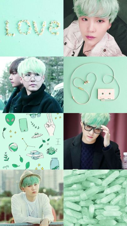 Kpop Aesthetic Collage Requests Closed Bts Suga Mint Green