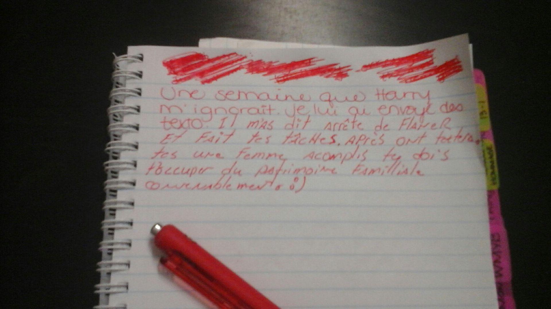 J'ai laissé mon cahier d'écriture sur la table du salon et mon chum a voulu m'aider à écrire la fin de mon chapitre
