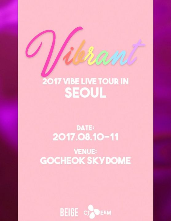 BEIGE just released teaser posters of VIBE's first concert tour, entitled Vibrant, to be held in Seoul on August 10-11