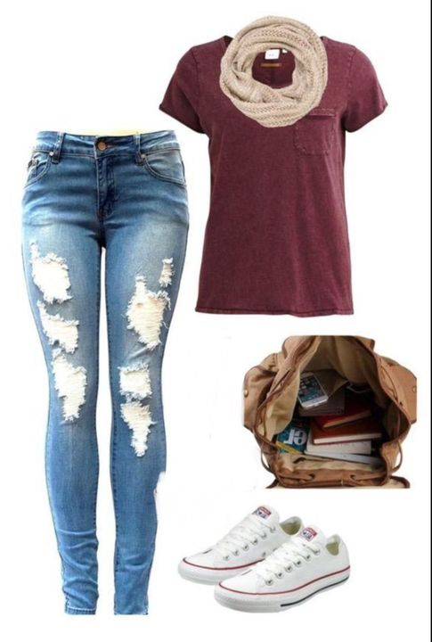 I decide to put on a simple maroon t-shirt, with ripped jeans and a scarf for my last day (for now) in the UK
