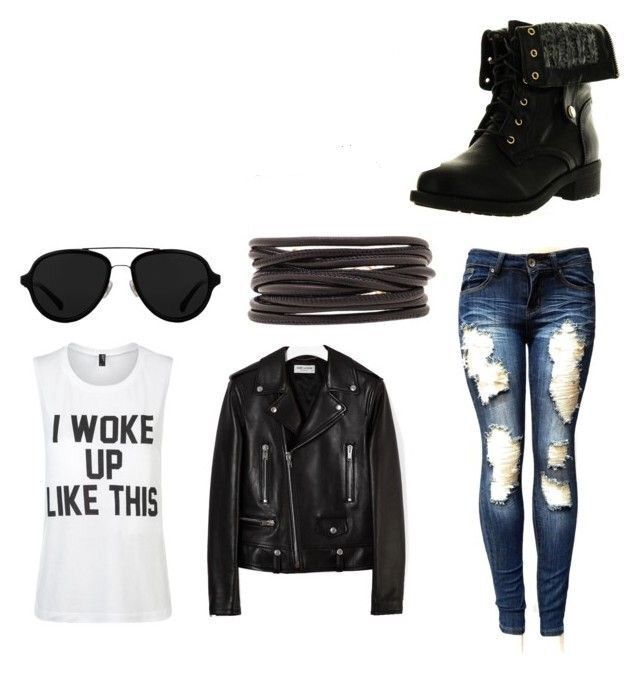 """That outfit consisted of black sunglasses, boots, my leather jacket, blue ripped jeans, bands, and a T-shirt that said """"I woke up like this"""""""