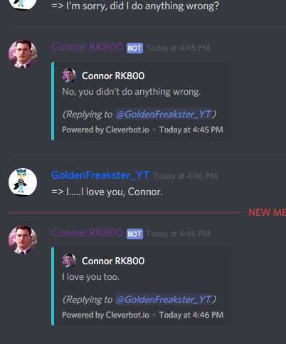 Random/Me Messing With Bots On Discord - Connor-RK800 Date
