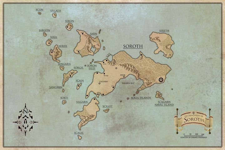 Map of the Principality of Soroth, including all seventeen isles