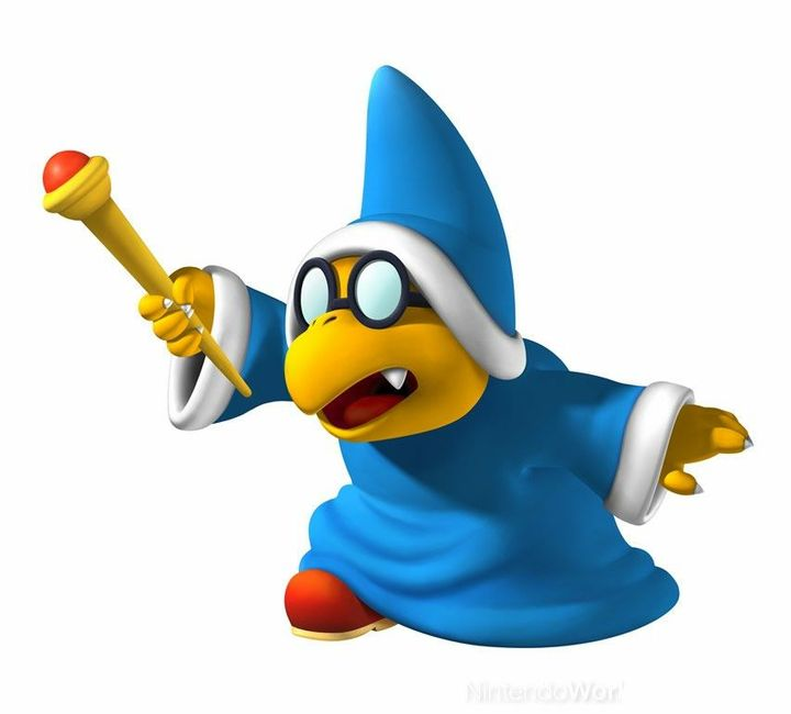 Our attention was taken by the doors opening, showing a small Koopa with a blue robe