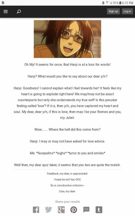 Quiz Results and Stuff! - What does Hanji think of you? - Wattpad