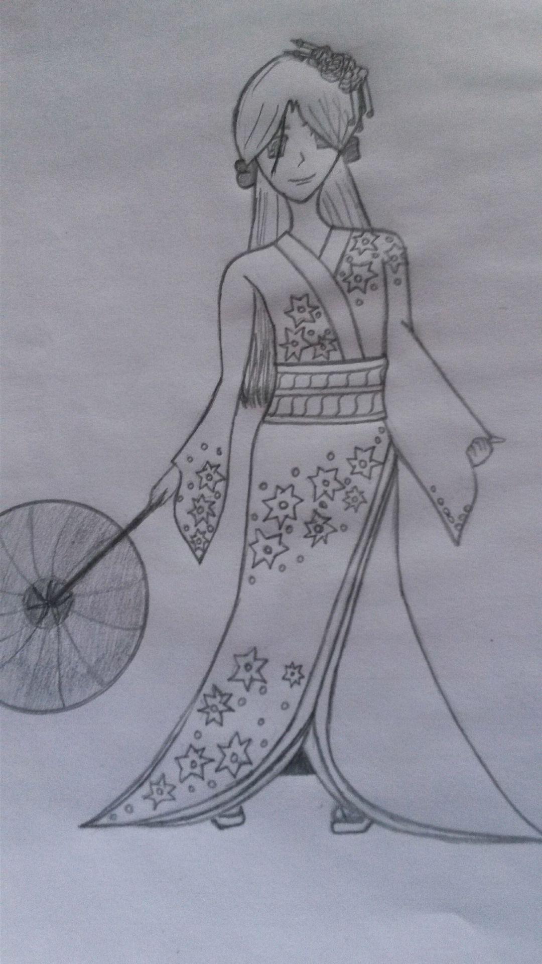 My Anime Drawings Girl Wearing Kimono Wattpad