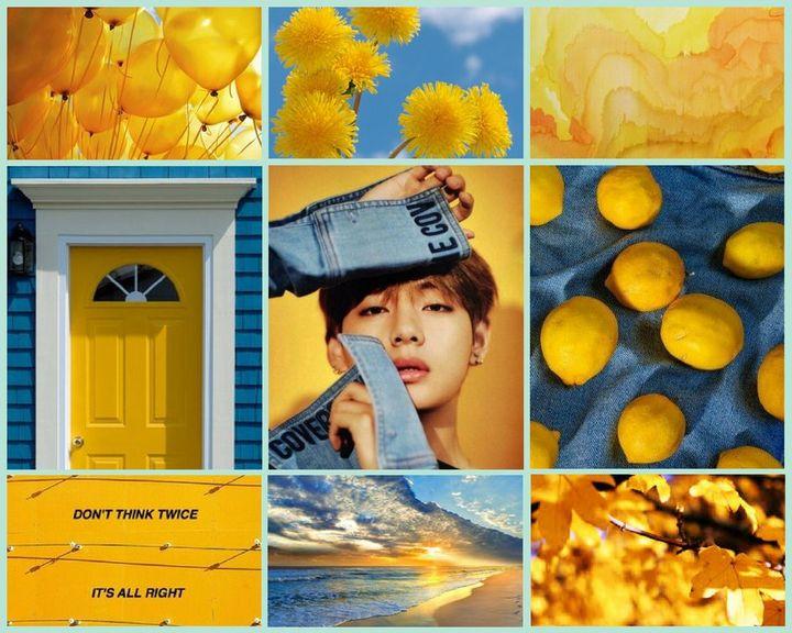 My Edits Blue Gold Taehyung Aesthetic Wallpaper Wattpad