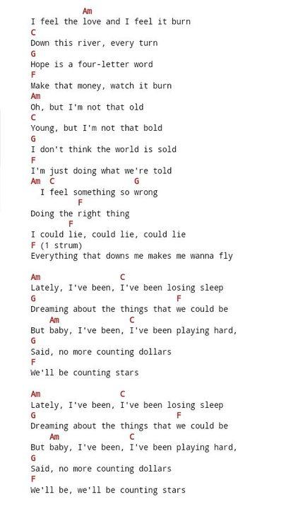 Chords & Lyrics (Ukulele, Piano, guitar, Whatever 🖤) - OneRepublic ...