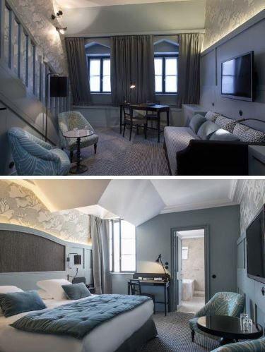 La nostra non è una camera, ma una suite, a due piani, con soggiorno e una scala che porta alla mansarda dove c'è il letto
