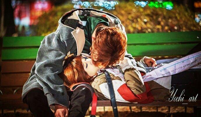 Namun tanpa dugaan, entah sadar entah tidak, yeoja itu justru membalas kecupan Taehyung, membuat namja itu terkejut namun merasa senang dan semakin memperdalam ciumannya