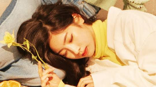 you are done doing your morning routine and goes downstairs and saw Dahyun sleeping in the couch