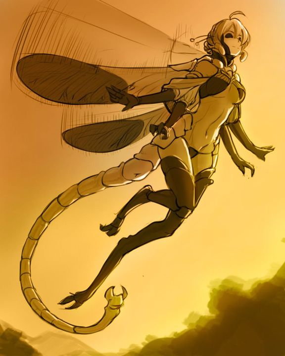 Name: Chrysalis Stynger Locus NymphNicknames: Nymph, Hivequeen, Princess, Queen, Buzzbuzzbzzbzzbzzbz, Locus, Locust, Dragon, DragonflyAge: 17? 18, idksGender: femaleSexuality: yesSpecies: Insectwoman (Royalty)Appearance: