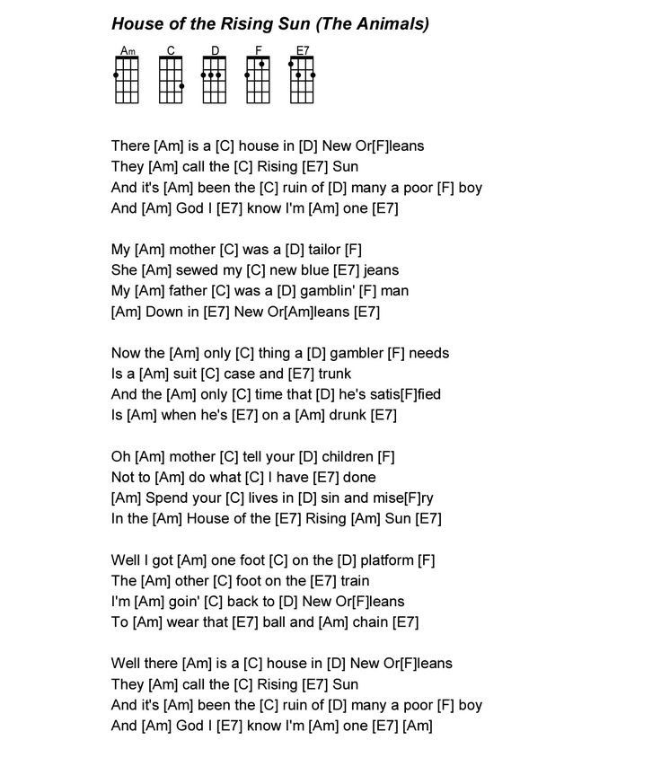 Pictures of house of the rising sun lyrics and chord table