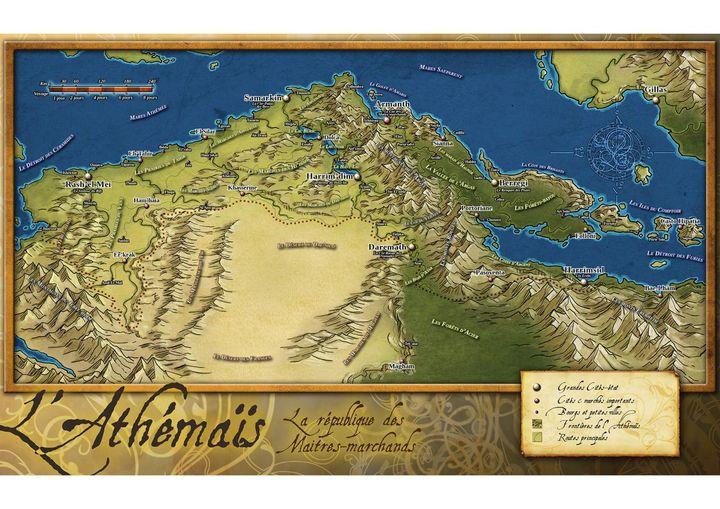La carte de l'Athémaïs, où se situe l'action du tome 1 :