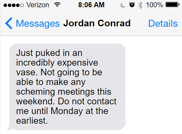 Roland turned off his phone and sat up, wondering what had made Jordan so sick when she had appeared to be fine just an hour before she sent that text