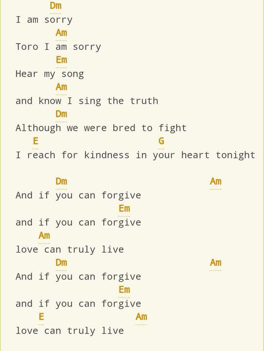 Chords & Lyrics (Ukulele, Piano, guitar, Whatever 🖤) - Apology song ...