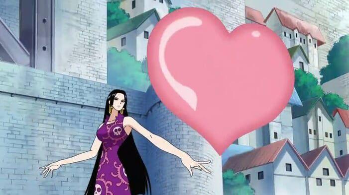 Sebuah jantung besar melayang ke langit, mengarah ke kapal bajak laut Black beard, berubah menjadi panah jantung yang tebal, serang!