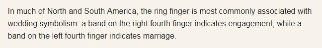 Văn hóa đeo nhẫn ở nhiều nơi khác nhau, và tớ có đọc được rằng ở Phương Tây thì việc đeo nhẫn tay trái ở ngón áp út sẽ là chứng tỏ bạn đã kết hôn