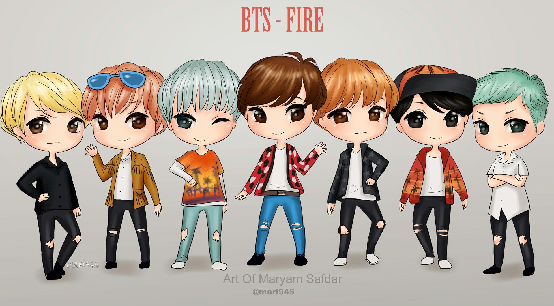 BTS Cartoon Photos Fanart Fire Wattpad