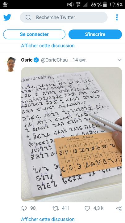 Voici comment écrire en Enochien 