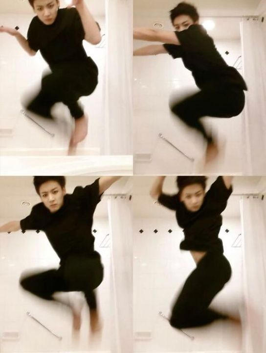 31- Jungkook took pictures of himself jumping in the bathroom