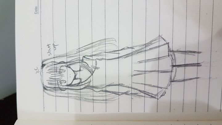 Does she look like a Tsundere? Or just an emotionless person? Idk i was just bored that time hehe Oh and im back to using pencils! Blue colour pencils is just a bit messing up my drawing and its hard to rub