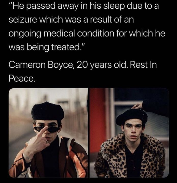 Thank you for make our childhoods❤️ RIP CAMERON BOYCE 1999-2019 xx