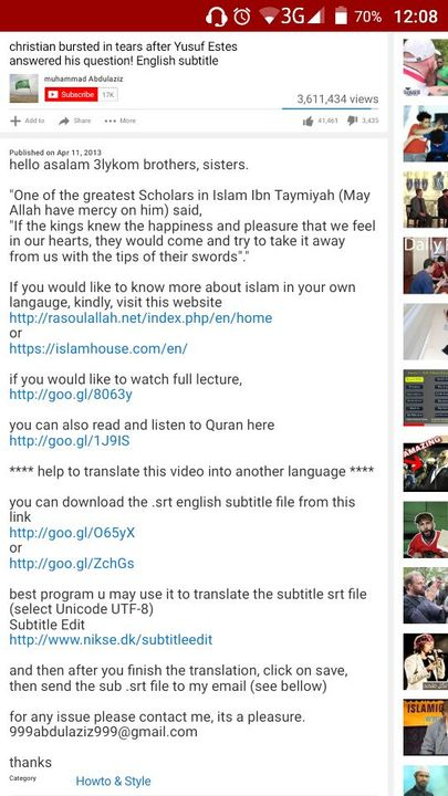 Recommended Islamic Videos  - Gabriel Bursts Into Tears