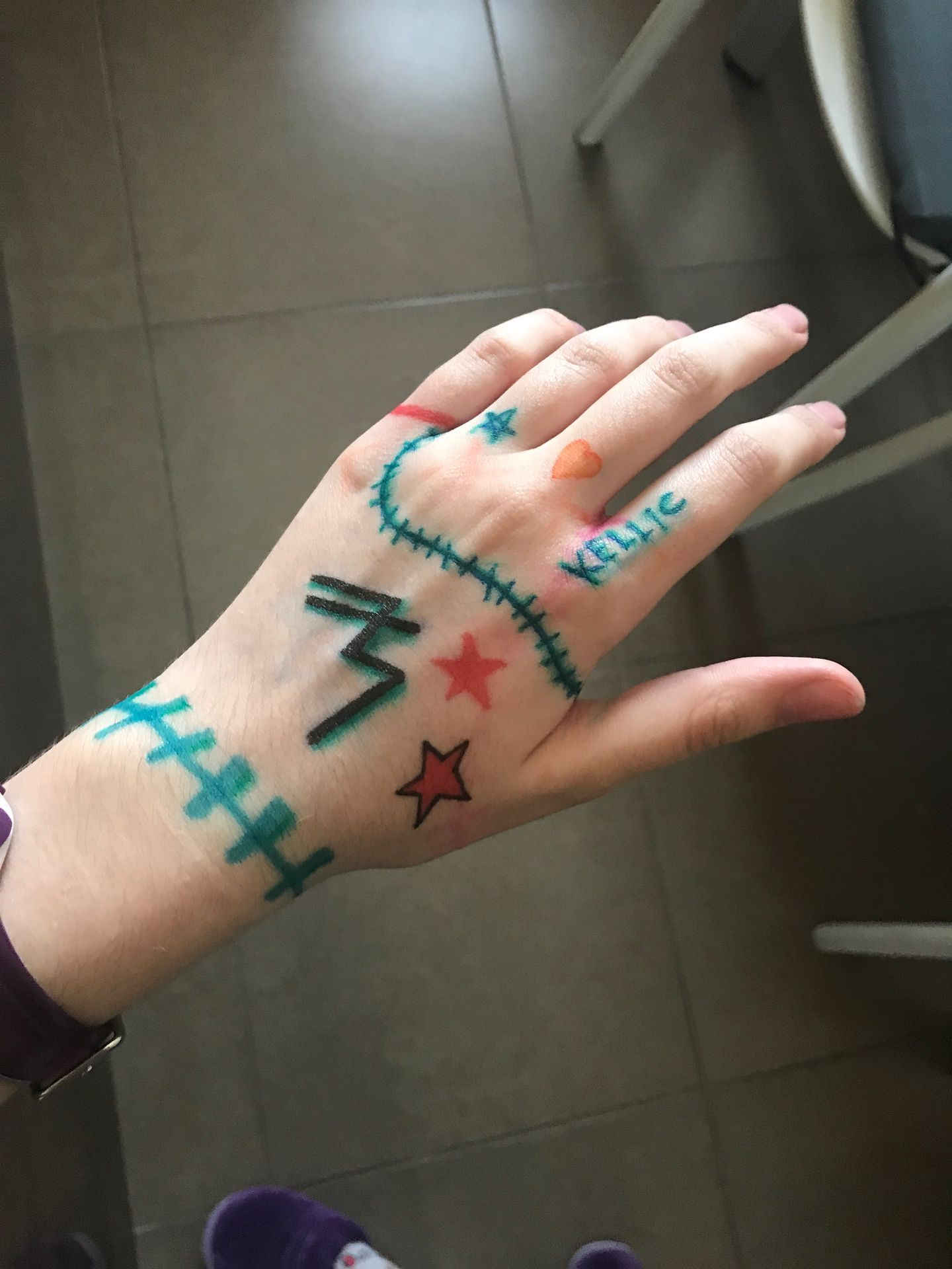 Oh yeah and I started drawing on my hand again yay!