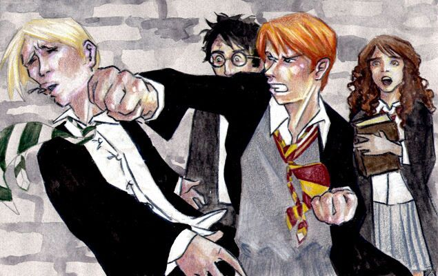 Hermiona i Ginny wrzasnęły zgodnie, aMalfoyjęknął pod wpływem ciosu i zatoczył się do tyłu