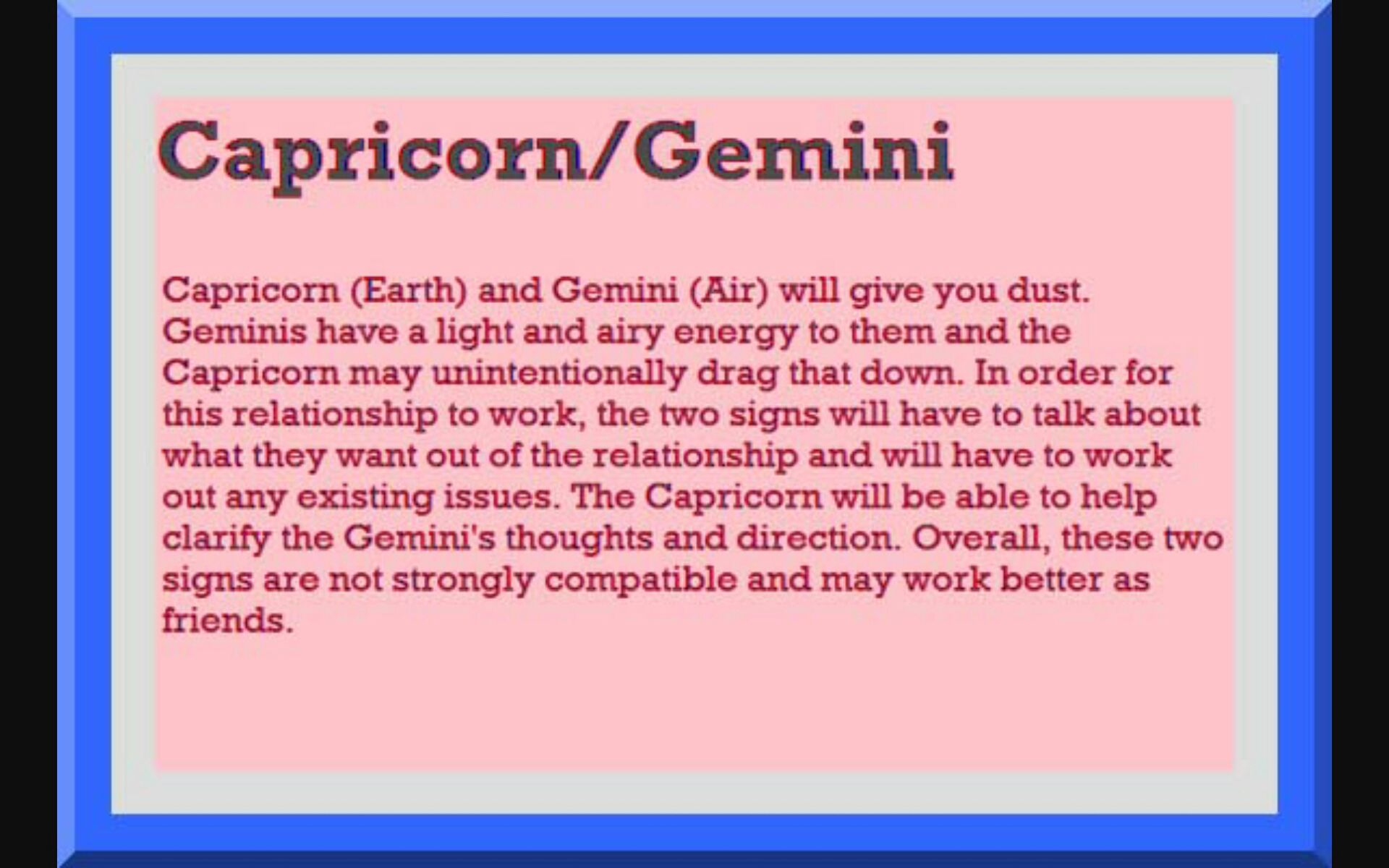 Capricorns and geminis