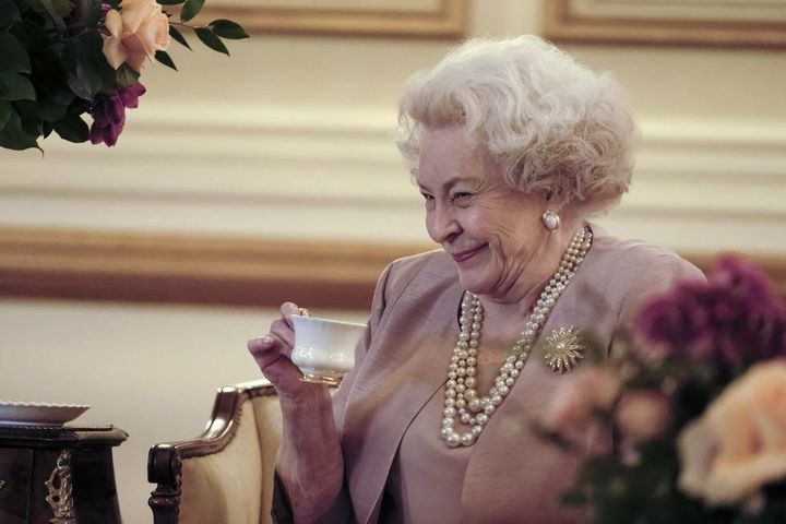 Maggie Sullivun will play Queen Elizabeth, seen here drinking tea in character:
