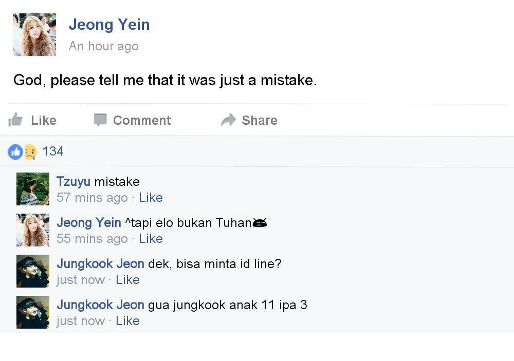 Memberanikan diri, Jungkook mengomentari status tersebut