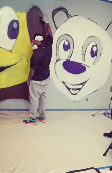 """""""Me you know these two don't have a artistic bone in they body"""" chris laughed and continued to paint"""