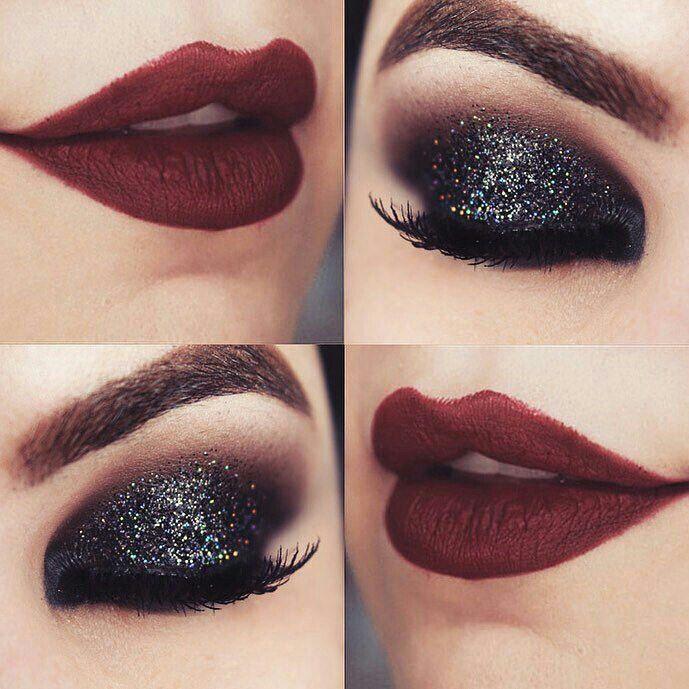 Na make,uma sombra preta esfumaçada com uma marrom,uma sombra cremosa com muito gliter preto,muita mascara de cilios aprova dágua e um batom matte vermelho