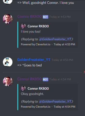 Random/Me Messing With Bots On Discord - Connor-RK800 Date - Wattpad