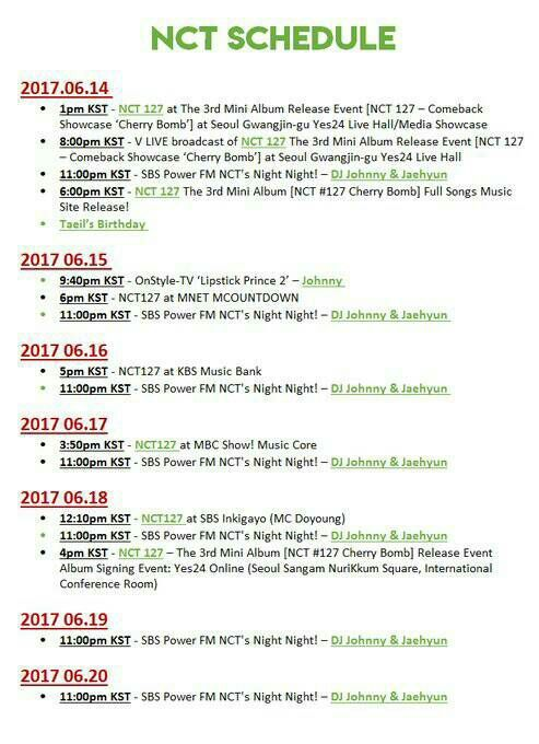 ALL ABOUT NCT - NCT SCHEDULE - Wattpad
