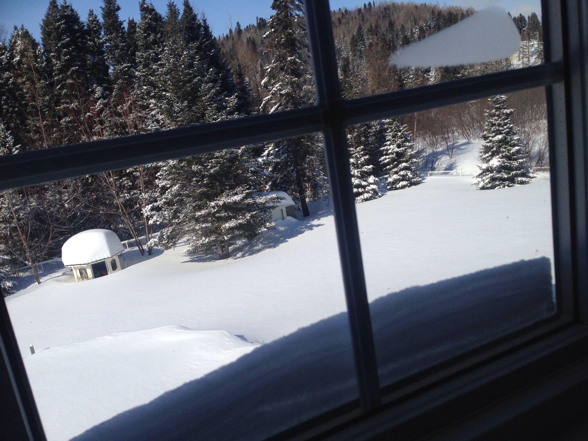 Genre que c la piscine ou la glissade et la neige arrive jusqu'à la fenêtre j'ai dû me mettre sur la pointe des pieds pour la prendre XD genre que la neige est plus haute que la porte en arrière so je l'ouvre ya une avalanche